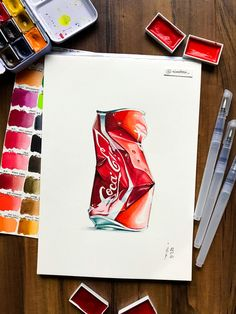Watercolor Sketch, Coca Cola, Sketches, Cards, Drawings, Maps, Doodles, Cola, Sketchbook Drawings