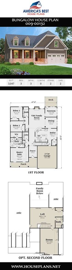 Bungalow House Plan - House Plans, Home Plan Designs, Floor Plans and Blueprints Open Living Area, Bungalow House Plans, Best House Plans, Plan Design, Open Floor, Second Floor, Sunroom, Square Feet, Master Suite