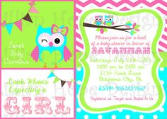 Owl Baby Shower - Owl Girls Baby Shower Invitation - PRINTABLE Invitation and Thank You Card - Chevron via Etsy