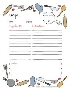 Full page editable recipe template. Several other organizing ...