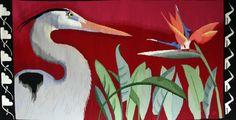 "Lynn Mayne (USA), ""Bird Meets Bird,""31"" x 62"" woven tapestry, ATB 8"
