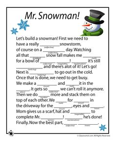 Free printable winter mad libs with themes of ice skating, snowmen, and a snowstorm! Christmas Activities, Winter Activities, Christmas Fun, Holiday Fun, Christmas Printables, Christmas Mad Libs For Kids, English Christmas, Christmas Things, Outdoor Activities