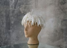 1950s White Pill Box Hat Pearl Fringe by Petrune on Etsy