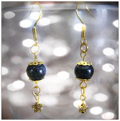 Beautiful Handmade Gold Hook Earrings with Blue Goldstone & Star Would you like to wear these earrings? Please let me know, thank you :-) You can find these and other beautiful Jewelry & Ac...