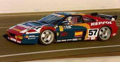 El Ferrari 348 GTC-LM amb el que Tomás Saldaña, Alfonso de Orleans i Andrés Vilariño van quedar 11º a Le Mans 1994