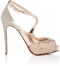 07465d5bd93 Christian Louboutin Women s Mira Bella Mesh  amp  Specchio Leather Platform  Sandals - Rose Gold High