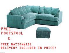 NEW Jamba Fergusson Symetrical Corner Unit Sofa Teal Blue Jumbo Cord Footstool | eBay