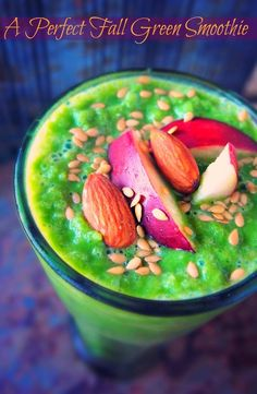 1/2 Cup Unsweetened Almond Milk  A perfect fall smoothie  1 Cup Spinach  1/2 Cup Ice  1 Small Banana  1/2 Lemon Freshly Squeezed  1/2 Orange   3 Large Strawberries  1 Tbsp Almonds  1 Tbsp Ground Flax  1 Tsp Vanilla  1/2 Green Apple