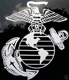 "9""x8"" White Eagle Globe and Anchor Decal USMC Military"