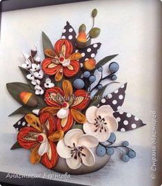 Картина панно рисунок Квиллинг Разное Бумага Бумажные полосы Листья Проволока фото 8