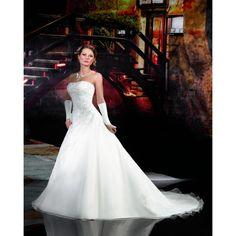 Charming A-line Strapless Beading Lace Chapel Train Organza Wedding Dresses [E24] - £268.00 : , By Rosa Novias
