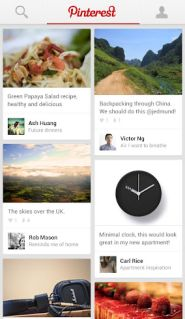 The new Pinterest Android and iPad app. Yippee!