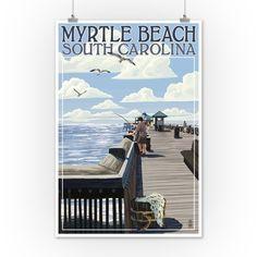 Free Shipping. Buy Myrtle Beach, South Carolina - Pier Scene - Lantern Press Artwork (12x18 Art Print, Wall Decor Travel Poster) at Walmart.com