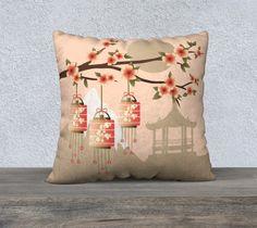 Blossom - Pillow case - Trow Pillow - Home decor - Asian -  Velveteen pillow - Gift for her - Flower - Lanterns -Oriental -Landscape -Orange by artofdezigraf on Etsy
