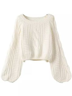 Puff Sleeve Cable Knit Sweater 23.00