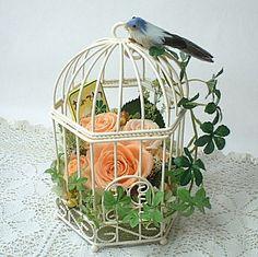 プリザーブドフラワー 鳥かごのアレンジ(オレンジ)