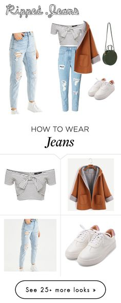 """""""ripped jeans #ripped jeans contest entry"""" by dress-like-your-going-out-out on Polyvore featuring American Eagle Outfitters and Clare V."""