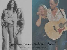 "Stevie Nicks and Lindsey Buckingham with ""The Chain"" lyric."
