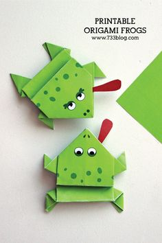 Printable Origami Frogs - Fun craft activity for kids!