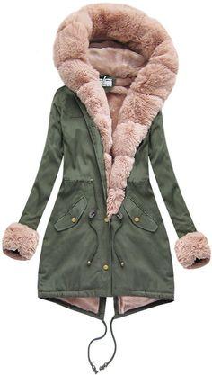 Dámska bavlnená parka s kožušinou khaki ružová New Age, Parka, Fur Coat, Jackets, Fashion, Down Jackets, Moda, Fashion Styles, Fashion Illustrations