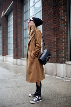 #beauty #clothes #outfit #fashion #woman #style #winter #fall #autumn #brown #long #maxi #coat #leather #pants #black #converse #all #star #beanie