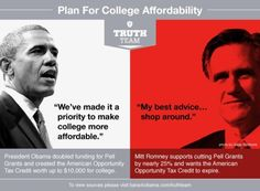 Take a look at the very different ways President Obama and Mitt Romney plan to address college affordability.