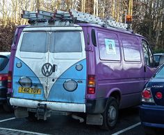 VW Split screen camper on the back of a Ford Transit. by SARK S-W, via Flickr