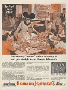 1964 Howard Johnson's Restaurant & Motor Lodge Vintage Advertising Birthday Party Illustration Print Wall Art Decor