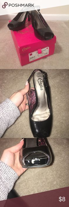 SEXY HEELS💋 Black peep hole heels. Have been worn a few time... Definitely well loved shoes! A few scratches. It still look great! Candie's Shoes Heels