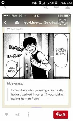 I'd love if Kaneki was in a shoujo. It'd probably be a lot better than all the crap he has to go through lol! Manhwa, Tokyo Ghoul Manga, Memes, Another Anime, Kaneki, Shoujo, Vocaloid, Manga Anime, Otaku