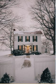 Snow toppling onto a white salt box colonial. Serene.
