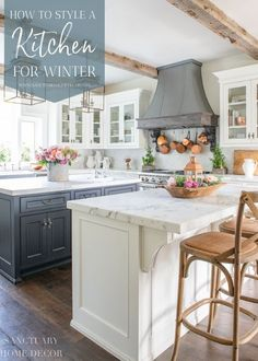 The transition from the fullness of holiday decor to the bareness of winter can definitely feel stark. Today I thought I would share a few tips about how to style a kitchen for winter to keep it warm and cozy until spring. Unfinished Kitchen Cabinets, Glass Kitchen Cabinets, Built In Cabinets, Kitchen Fixtures, Painting Kitchen Cabinets, White Cabinets, Kitchen Counters, Oak Cabinets, Modern Farmhouse Kitchens