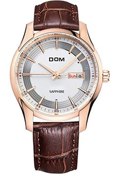 DOM Mens Best Cool Luxury Unique Brown Leather Quartz Watches >>> Check this awesome product by going to the link at the image. (Note:Amazon affiliate link)