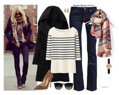 """""""Winter Street Style"""" by happilyjynxed ❤ liked on Polyvore featuring H&M, 7 For All Mankind, Uniqlo, Barbour, Ray-Ban, Gianvito Rossi, House of Harlow 1960, leopard, plaid and flarejeans"""