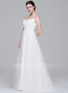 A-Line/Princess Off-the-Shoulder Sweep Train Ruffle Beading Sequins Zipper Up Spaghetti Straps Sleeveless Church General Plus No Spring Summer Fall Ivory Tulle Wedding Dress