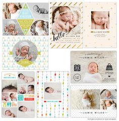 Modern birth announcements templates | Photoshop templates for photographers by Birdesign