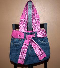 Upcycled Jean Purse with Pink Bandana Belt by DarkeBlazeDesigns, $25.00