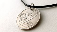 Czechoslovakian Coin necklace Coin jewelry Leather by CoinStories