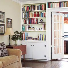 Built-ins that rise to meet the crown molding create a more integrated, period-appropriate look with the room. | Photo: Tria Giovan | thisoldhouse.com