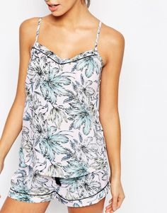 Image 3 ofNew Look Tropical Woven Cami And Short Pyjama Set