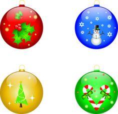 Christmas Ornament Clipart Four Christmas Ornaments Holly Snowman