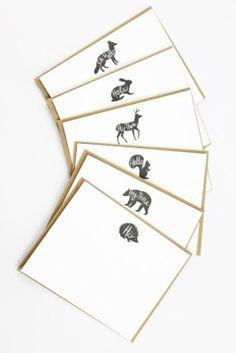 The Woodland Animal Hello Card Set /stationery and gifting Lettering Design, Branding Design, Woodland Animals, Business Card Design, Paper Goods, Letterpress, Book Design, Note Cards, Creative Design