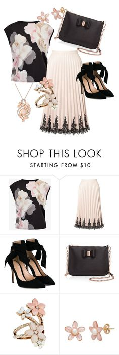 """rose and black"" by lina-maria-lorenzo ❤ liked on Polyvore featuring Ted Baker, Miss Selfridge, Gianvito Rossi, Accessorize and LE VIAN"