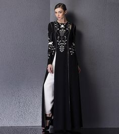 #Black #Embroidered & #Sequined #Georgette #Kurta Set by #AM:PM at #Indianroots