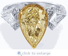 Ok this but with a prettier yellow.. Maybe a yellow sapphire instead of a cz .. Yes omg yes !!!!!   Cubic Zirconia 3 Carat Canary Pear, Kite & Pave Engagement CZ Solitaire Ring In 14K Gold by Ziamond. The Palermo Couture Solitaire is a stunning and unique ring that will grab attention! A 3 carat pear center is beautifully highlighted by pave set rounds and a custom cut bezel set kite on each side. $3295 #ziamond #cubiczirconia #cz #pear #solitaire #ring #engagementring #jewelry #diamond…