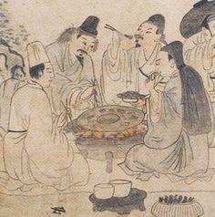 """19세기 화가 성협의 """"고기굽기"""". Korea."""