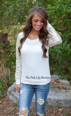 Sparkle In The Night White Blouse!