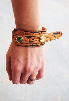 Leather Cuff Bracelet - Recycled Tooled Leather Rustic Floral Double Snapp Cuff Bracelet