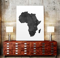 WATERCOLOR AFRICA MAP Africa Map Watercolor Painting by TypoWorld