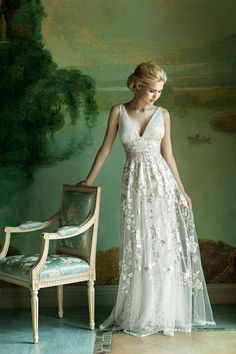 Raven stunning in Ivory embroidery by Claire Pettibone, Photo: Emily Soto, See the original in black here: https://couture.clairepettibone.com/collections/continuing-collection/products/raven